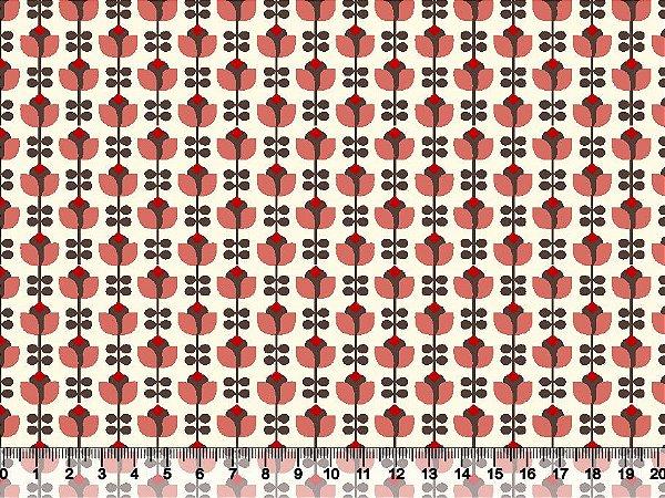 Tecido tricoline tulipas