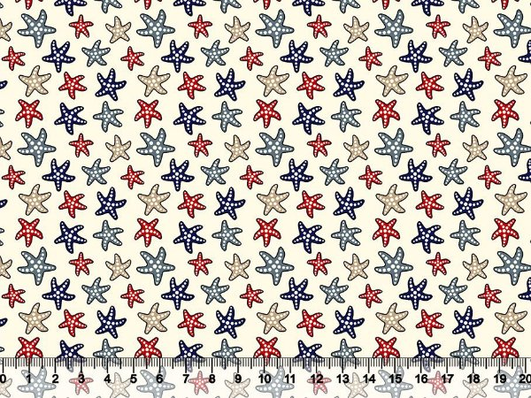 Tecido tricoline estrelas do mar
