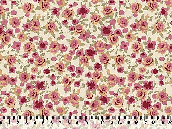Tecido tricoline rosas