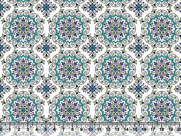 Tecido tricoline mandala arabescos e flores