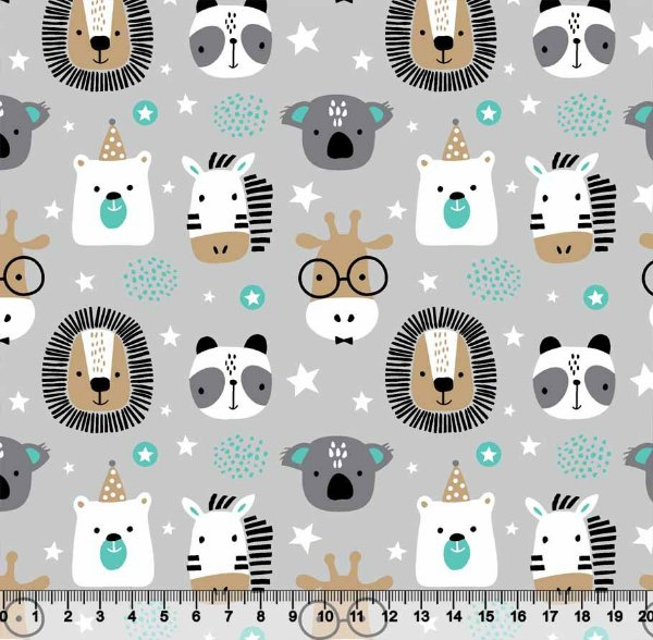 Tecido Tricoline Animais Safari Leão Zebra Coala Girafa Urso