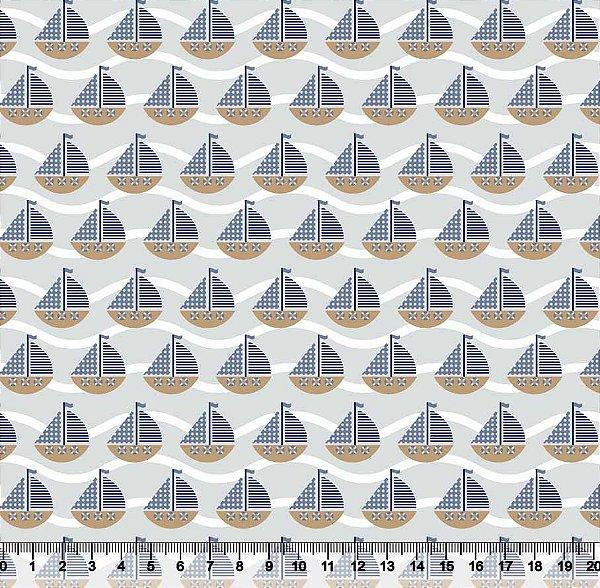Tecido tricoline barco navio infantil