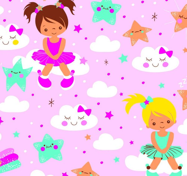 Tecido tricoline meninas nuvens estrelas