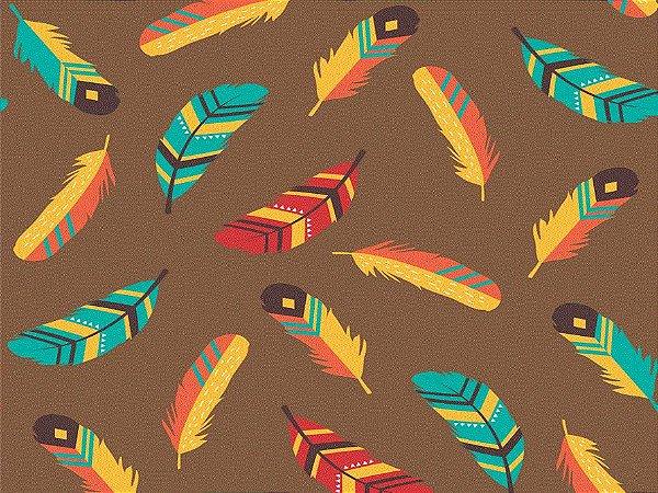 Tecido tricoline penas coloridas
