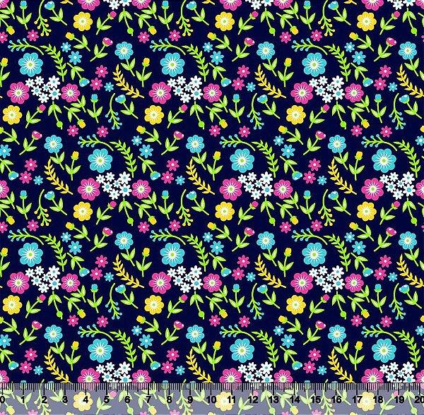 Tecido Tricoline Floral Mini Acampamento