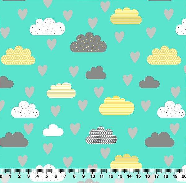 Tecido Tricoline Nuvens Coração 5422