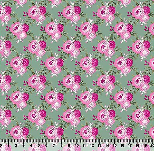 Tecido Tricoline Floral Campestre
