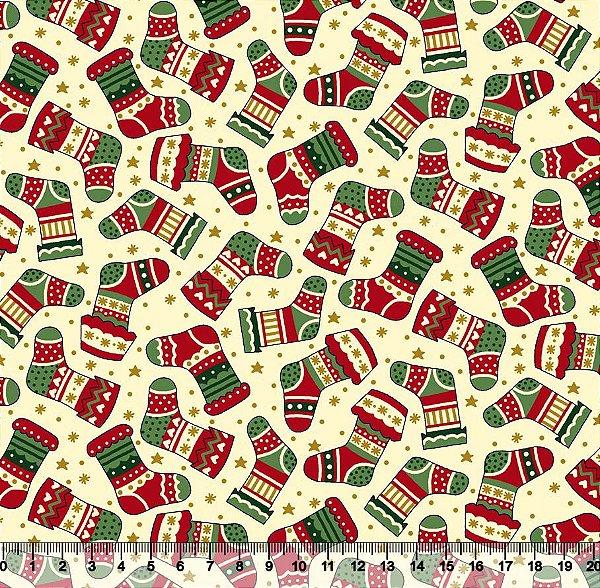 Tecido Tricoline - Natal - Meias Natalinas