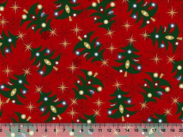 Tecido Tricoline - Natal - Árvore de Natal e Estrelas