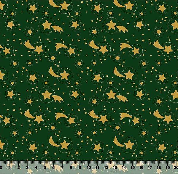 Tecido Tricoline Estrelas de Natal Dourado