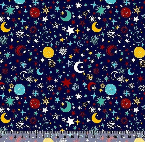 Tecido Tricoline Espaço Lua Estrela