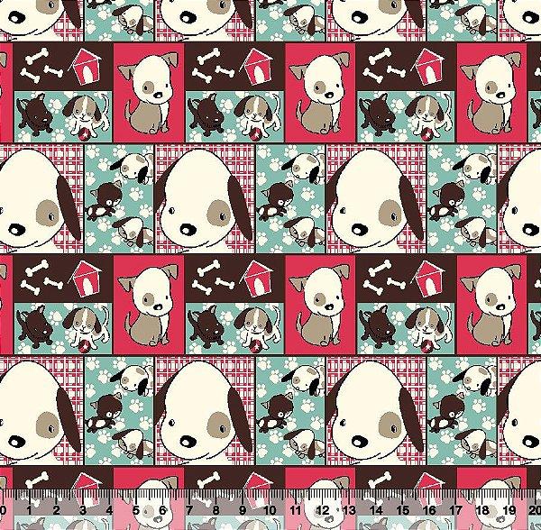 Tecido Tricoline Mosaico Cachorrinhos