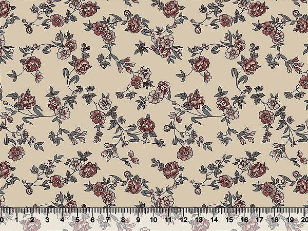 Tecido Tricoline Mini Floral Clássico Retícula