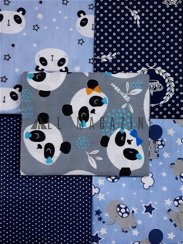 Kit Tecido Tricoline Panda Elefante Azul