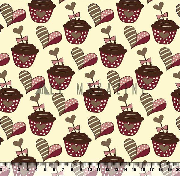 Tecido Tricoline Cupcake Coração