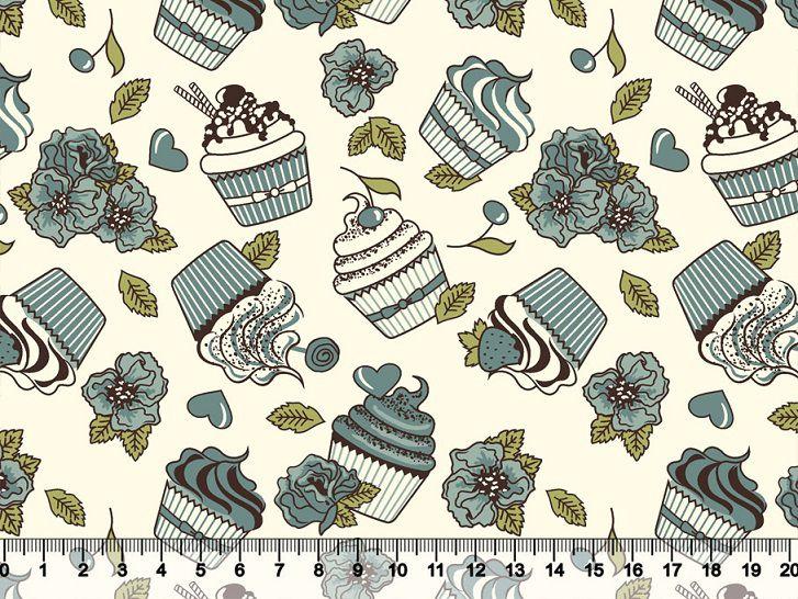 Tecido Tricoline Cupcakes Flores