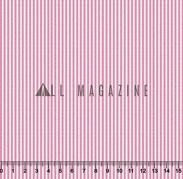 Promoção 1 metro  Tricoline Listras Pequenas Rosa