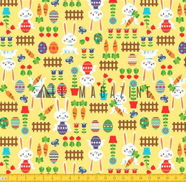 Tecido tricoline Coelhos e Ovos Páscoa