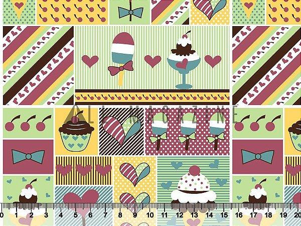 Tecido Tricoline Sorvete Cupcake Coração