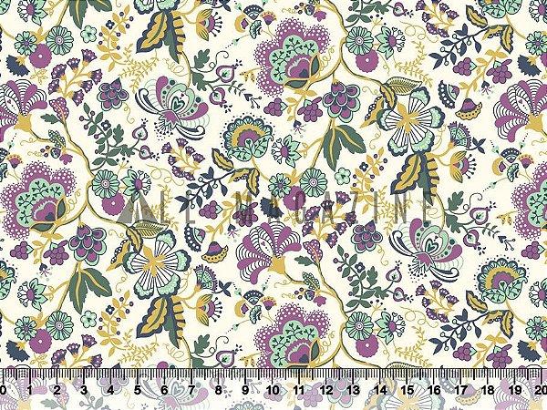 Tecido tricoline floral clássico vintage