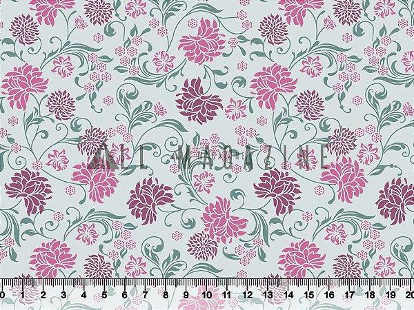 Tecido tricoline vintage floral