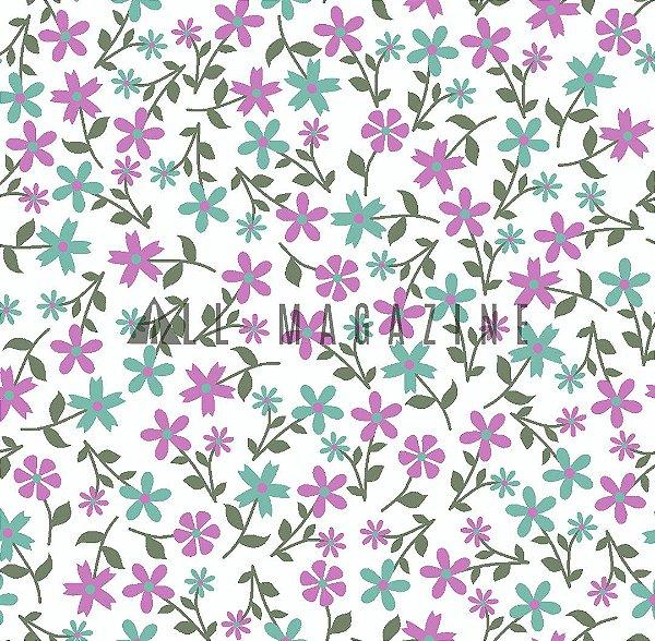 Tecido  Floral pequeno fofo