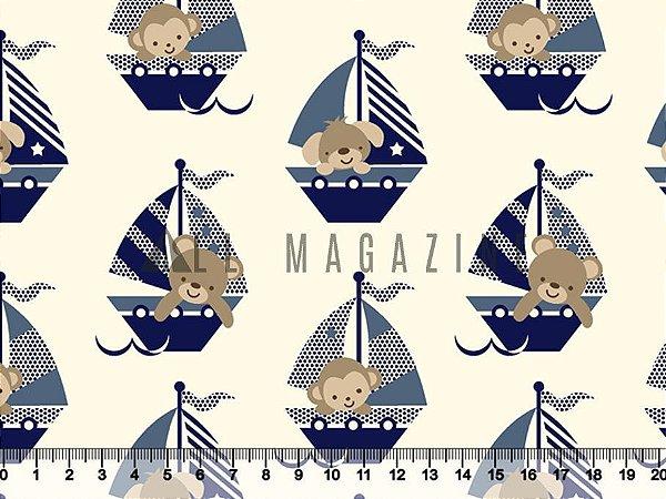 Tecido tricoline barcos Ursinhos Cachorrinho Macaquinho