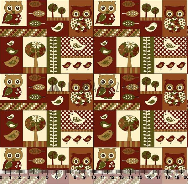 Tecido tricoline Mosaico Corujas Folhas Árvores
