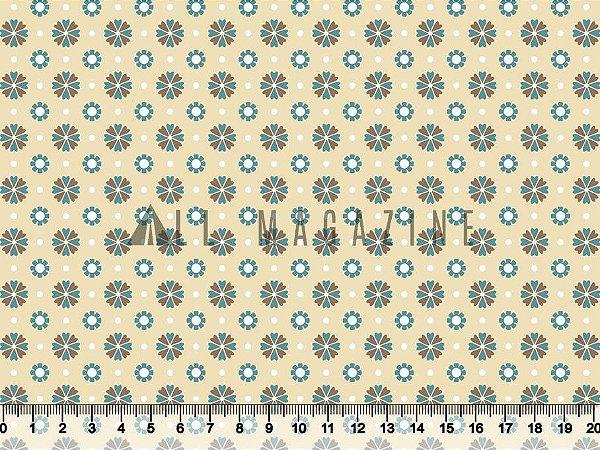 Tecido tricoline Flores Geométricas
