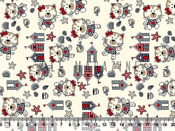 Tecido tricoline gatinha casas e conchas