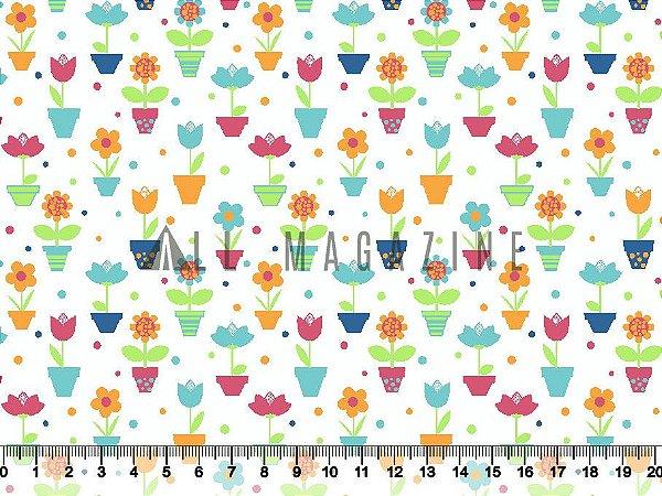 Tecido tricoline Vasinhos de flor