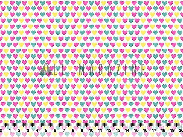 Tecido tricoline Corações Coloridos