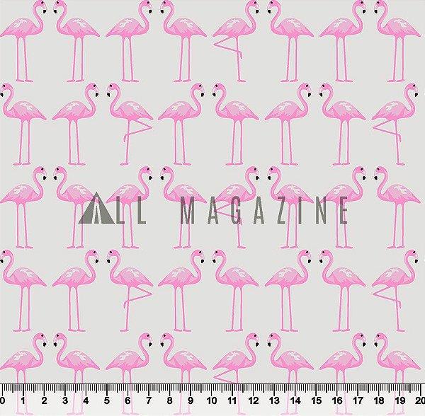 Tecido tricoline Flamingos