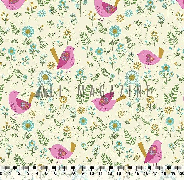Tecido tricoline Pássaros Rosa Floral Moderno Detalhes Dourados 3603