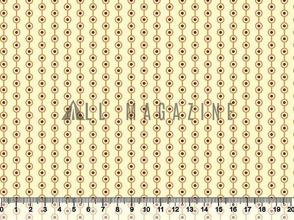 Tecido tricoline Listras de Bolinhas Amarelo e Vermelho