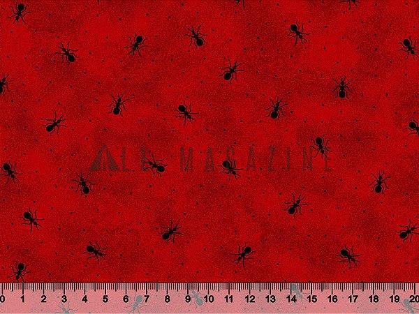 Tecido tricoline Formigas Fundo Vermelho Poá Poeira