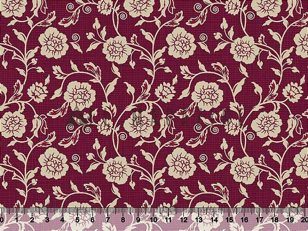 Tecido tricoline Floral Retrô Fundo Xadrez Bordô