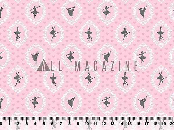 Tecido tricoline Molduras Bailarinas Rosa