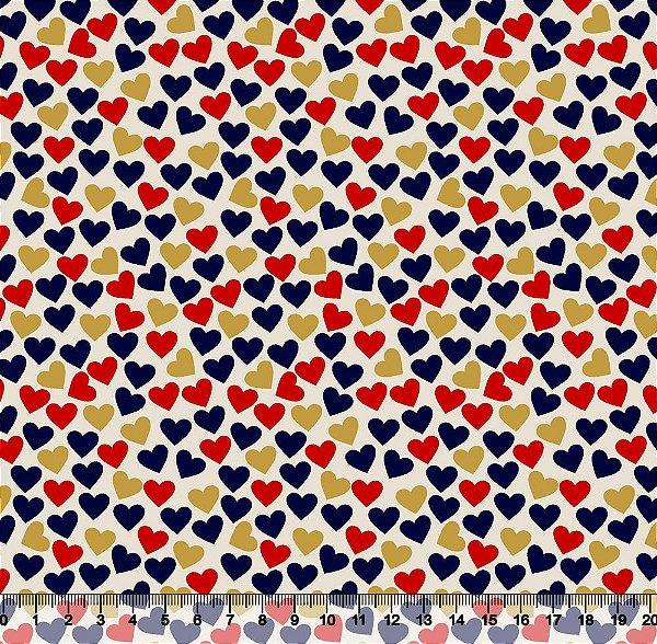 Tecido Tricoline Corações Azuis, Vermelhos e Dourados 3604-03