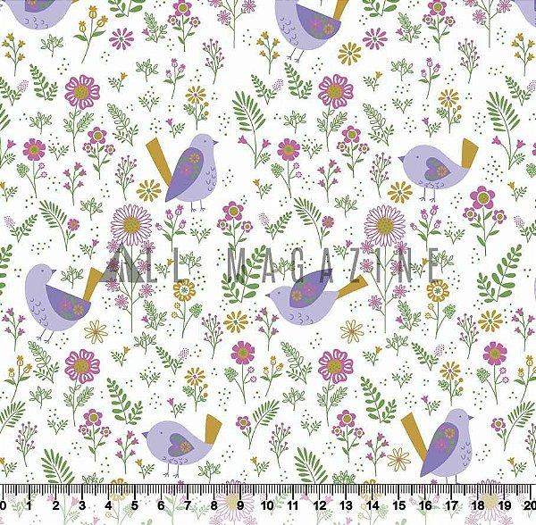 Tecido tricoline Pássaros Lilás Floral Moderno Detalhes Dourados