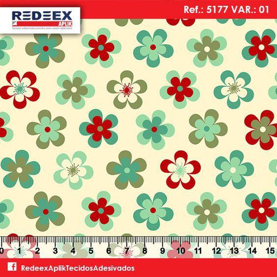 Tecido Adesivado Flores Coloridas