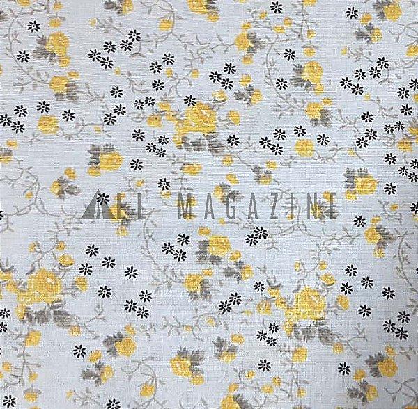Tecido tricoline Florzinhas Amarelas