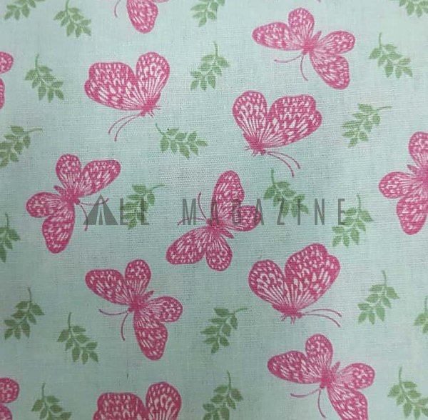 Tecido Tricoline Borboletas Rosa fundo verde