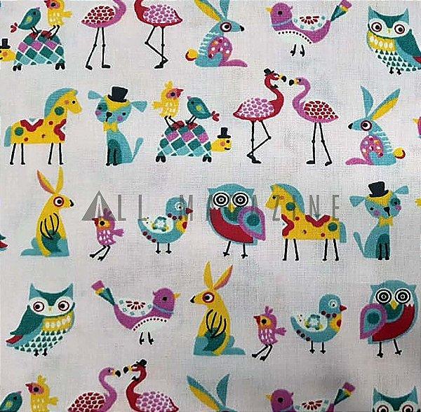Tecido tricoline Corujas e Pássaros Fundo Rosa