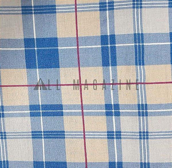 Tecido tricoline Xadrez Azul com Risca Bordô