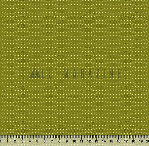 Tecido tricoline Micro Poá Bolinha Fundo verde