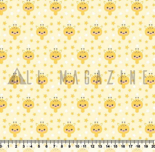Tecido Tricoline Girafa Estrelinhas