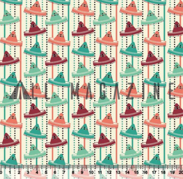 Tecido Tricoline Chapéus Mexicanos Coloridos