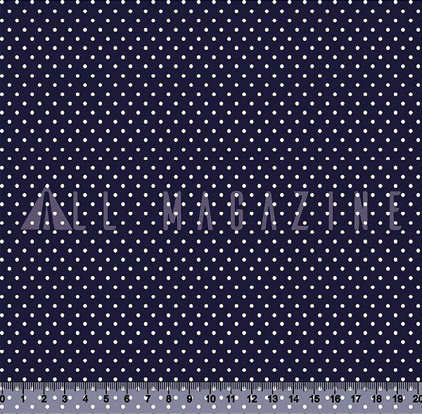 Tecido Tricoline Poá Fundo Azul Marinho