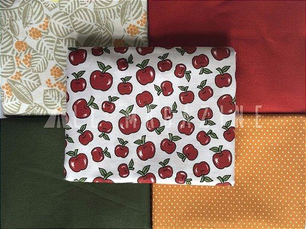 Kit Tecido Tricoline Frutas Poá Lisos